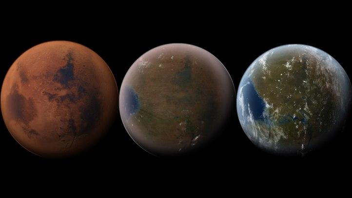 Möguleg þróun plánetunnar Mars.
