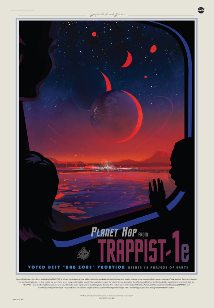 NASA Poster. Planet Hop from TRAPPIST-1. Eftir Amanda Smith.
